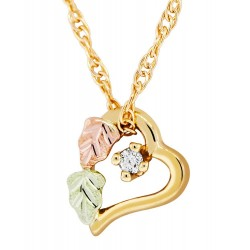 Mt Rushmore 10K Black Hills Gold Small Heart Pendant w Diamond