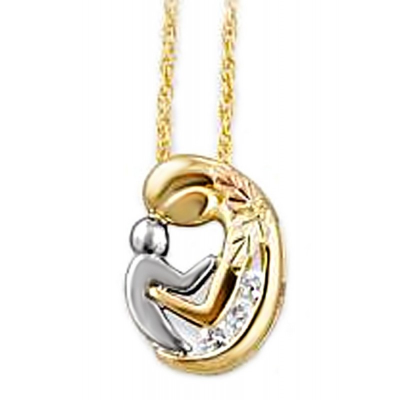 gold child pendant cttw round blue white diamond heart i necklace h mother sapphire products