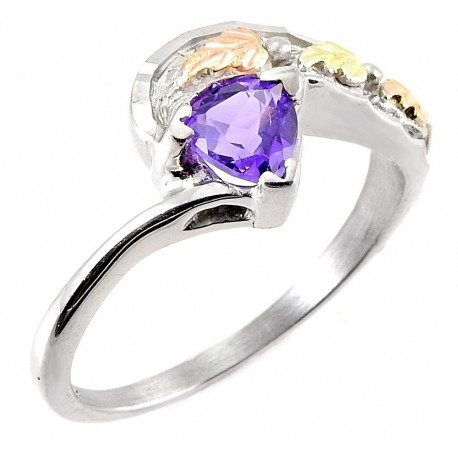Mt Rushmore Black Hills Gold Sterling Silver Ring with Amethyst