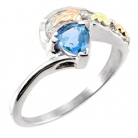 Mt Rushmore Black Hills Gold Sterling Silver Ring with Blue Topaz