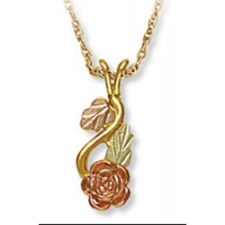 Landstrom's® 10K Black Hills Gold Rose Pendant with Leaves