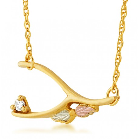 Landstrom's® 10K Tri-color Black Hills Gold Wishbone Diamond Pendant - Necklace