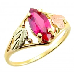 10K Black Hills Gold Tri-color Ladies Ring W/ Sapphire or Ruby