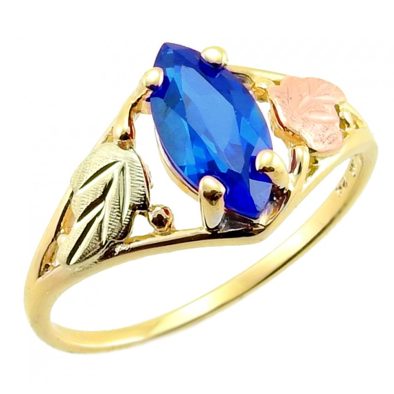 10k Black Hills Gold Tri Color Ladies Ring W Sapphire Or