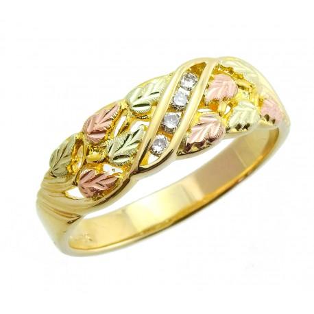 Tri-color 10K Black Hills Gold Men's Diamond Ring by Mt Rushmore
