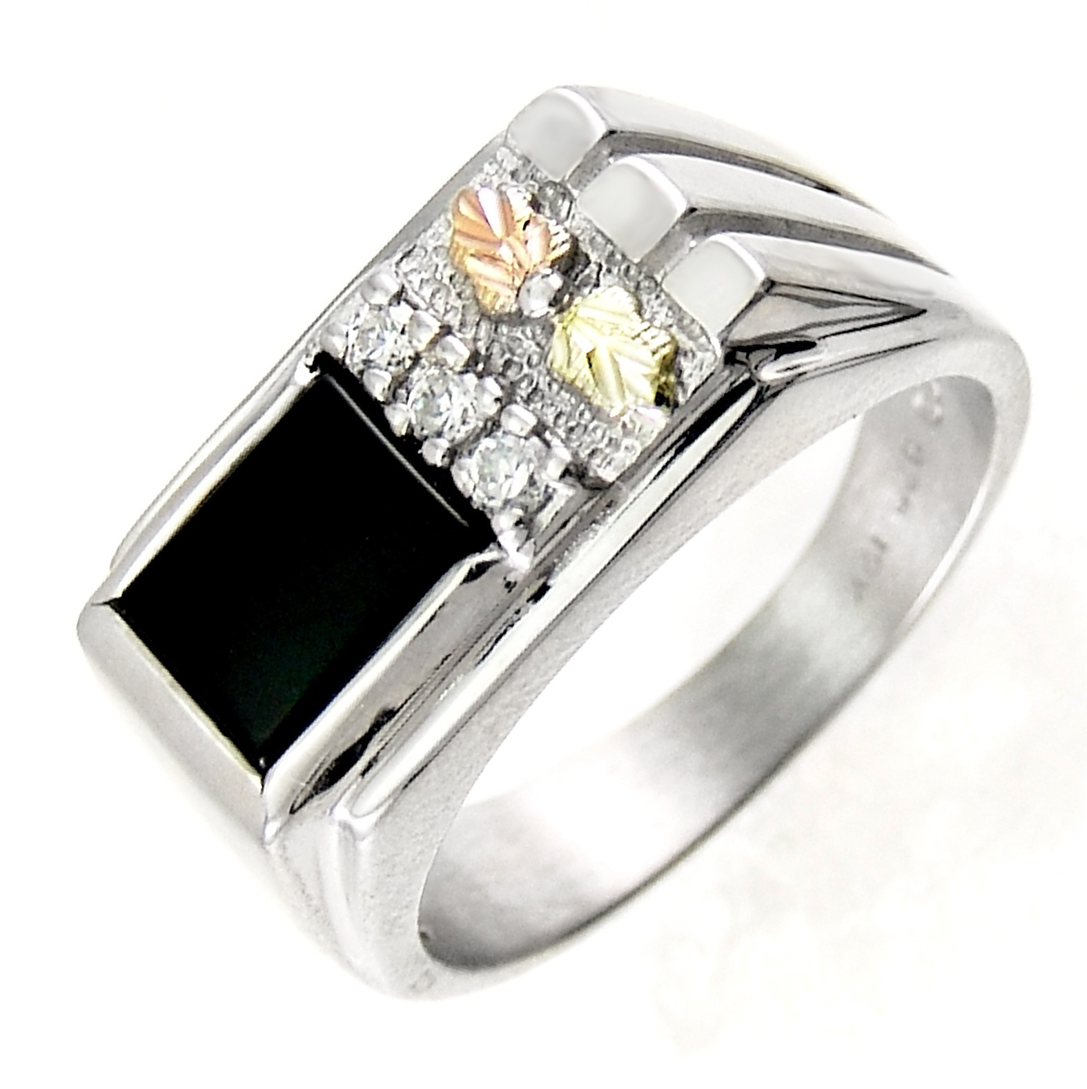 black hills gold on mens sterling silver onyx ring w cz