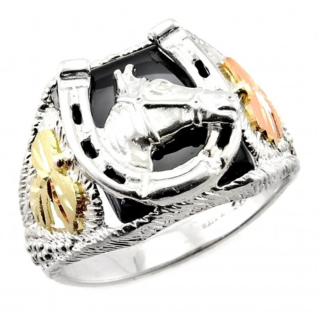 Black Hills Gold on Men`s Sterling Silver Horseshoe Ring with Horse Size 11