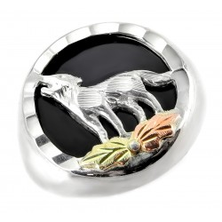 Size-5 Black Hills Gold on Ladies Sterling Silver Wolf  Ring