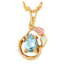 Landstrom's® Tri-color 10k Gold Aquamarine Pendant Gold with 12K Gold Leaves