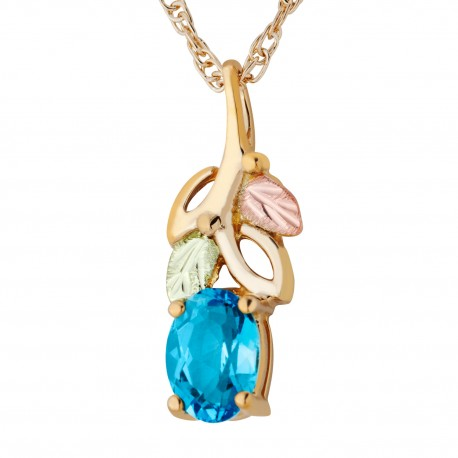 Landstrom's® 10K Tri-color Black Hills Gold Genuine Blue Topaz Pendant