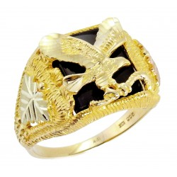 Tri-color 10K Black Hills Gold Men's Eagle Ring w/ Onyx by Mt. Rushmore