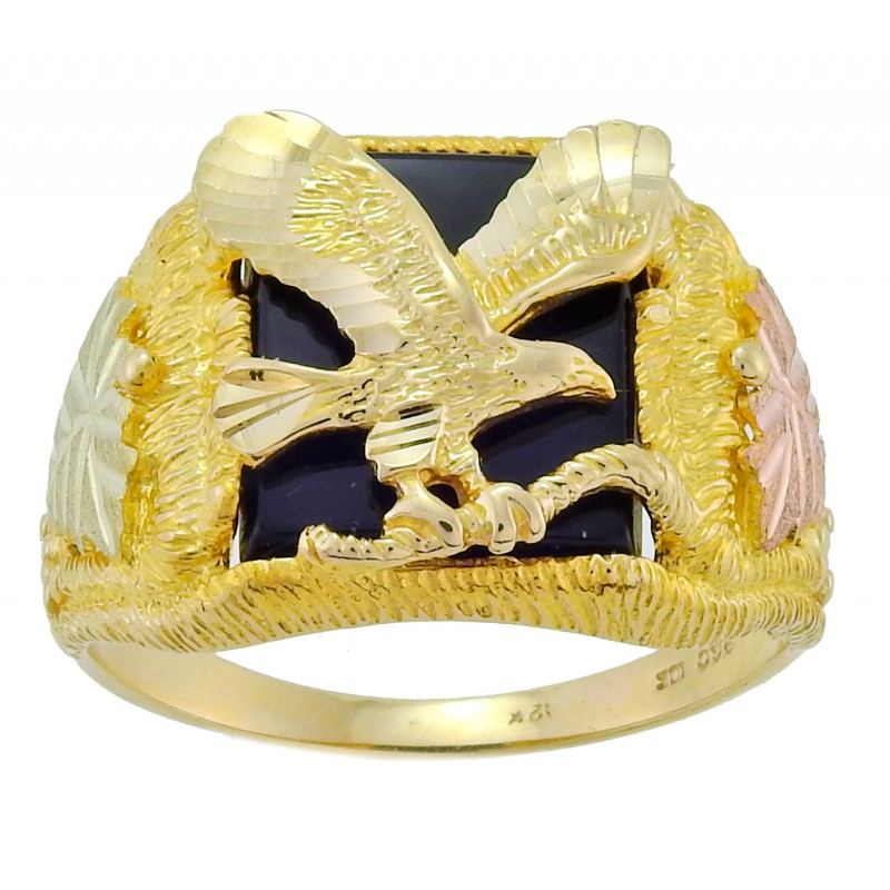 Tri Color 10k Black Hills Gold Men S Eagle Ring W Onyx By