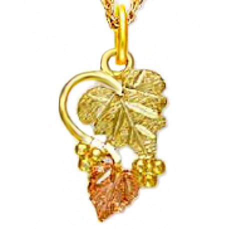 Landstrom's® Small 10K Black Hills Gold Leaves Pendant with Grapes
