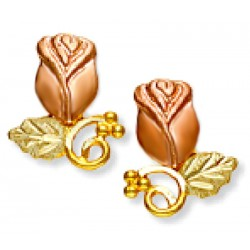 Landstrom's® Small 10K Black Hills Gold Bud Rose Earrings