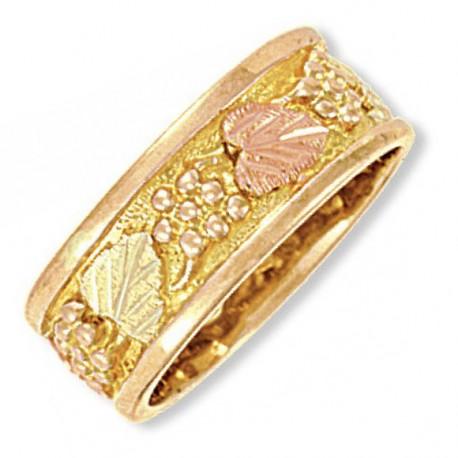 14K Black Hills Gold Ladies Wedding Ring with 12K Leaves