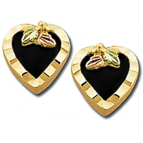 Landstrom's® 10K Black Hills Gold Heart Earrings with Onyx