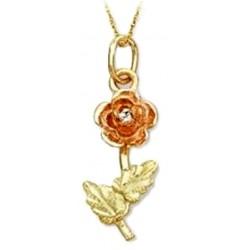 Landstrom's® Small 10K Black Hills Gold Rose Pendant with .02TWT Diamond