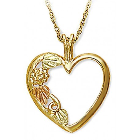 Landstrom's® 10K Black Hills Gold Heart Pendant with Leaves