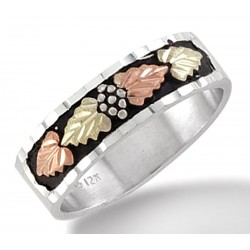 Black Hills Sterling Silver Men's Anitqued  Wedding Ring with 12k Gold Leaves