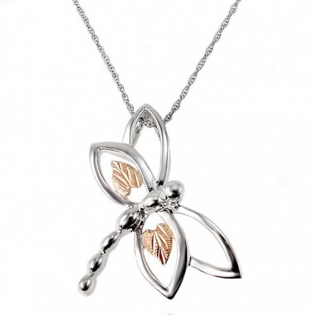Black Hills Gold on Sterling Silver Dragonfly Pendant By Landstrom's®