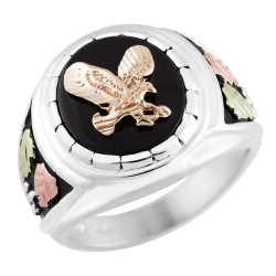 Rushmore Mens Black Hills Gold and Sterling Silver Eagle Ring with Onyx