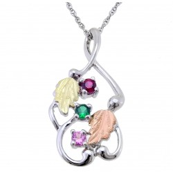 Choose up to 6 Family Birthstones - Landstrom's® Black Hills Gold on Sterling Silver Mother's Pendant