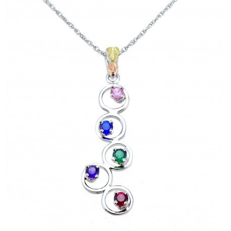Choose up to 5 Birthstones - Landstrom's® Black Hills Gold on Sterling Silver Mother's Pendant