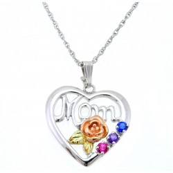 "Choose up to 6 Birthstones - Landstrom's® Black Hills Gold on Sterling Silver ""Mom"" Heart Pendant"