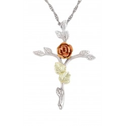 Black Hills Gold on Sterling Silver Rose Cross Pendant Necklace by Mt Rushmore