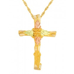 Mt Rushmore Tri-color 10K Black Hills Gold Cross Pendant - Necklace
