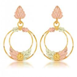 Mt Rushmore Tri-color 10K Black Hills Gold Circle Earrings