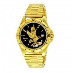 Men's Gold Tone Black Hills Eagle Watch by Mt. Rushmore