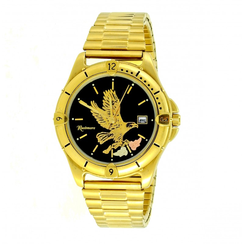 Men S Gold Tone Black Hills Eagle Watch By Mt Rushmore