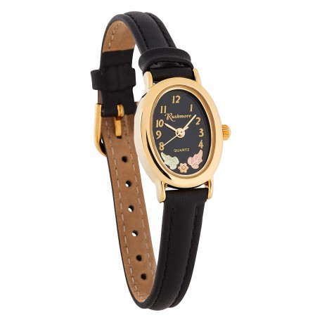 Landstrom's® Ladies Black Face Watch with Leather Band and 12K Gold Leaves