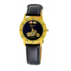 Women's Gold-tone Black Hills Gold Motorcycle Watch by Mt. Rushmore