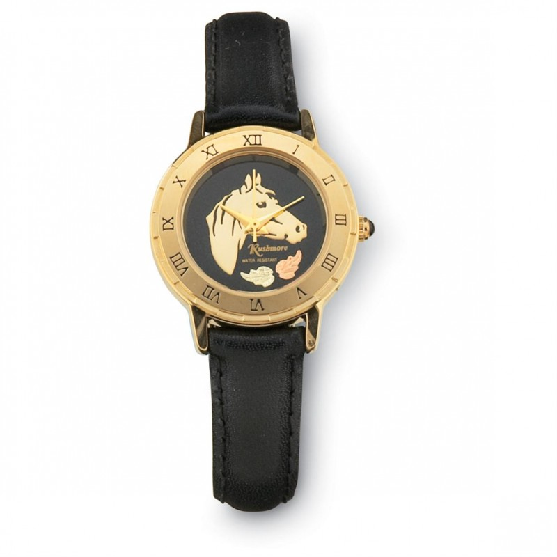 Women S Gold Tone Black Hills Gold Horse Watch By Mt