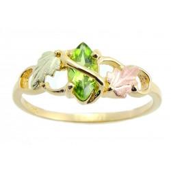 10K Tri-color Black Hills Gold Ladies Ring w/ Peridot