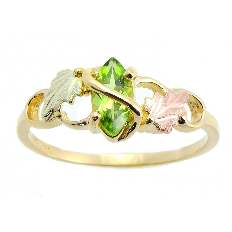 10K Tri-color Black Hills Gold Ladies Ring w/ Peridot ...