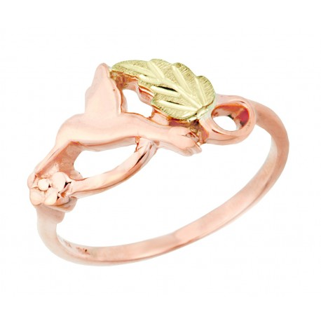 10K Tri-color Black Hills Gold on Sterling Silver Ladies Ring w/ Peridot