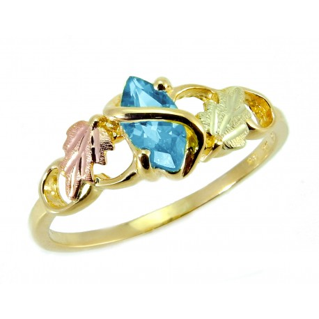 10K Tri-color Black Hills Gold on Sterling Silver Ladies Ring w/ Blue Topaz