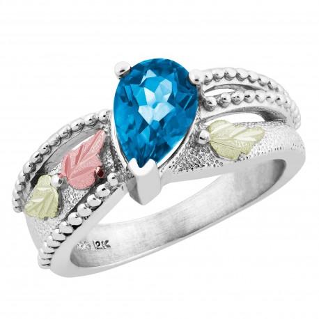 Landstrom's® Black Hills Gold on Sterling Silver Genuine Blue Topaz Ring
