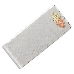 Landstrom's® Brushed Money Clip with Black Hills Gold Leaves