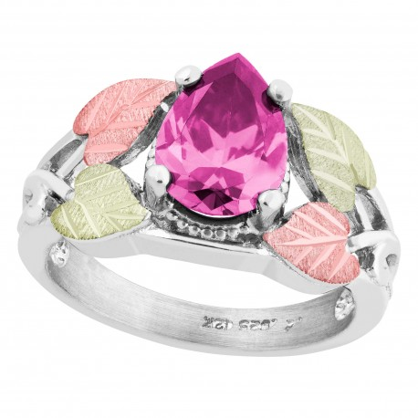Landstrom's® Black Hills Gold on Sterling Silver Ring w/ Pink CZ