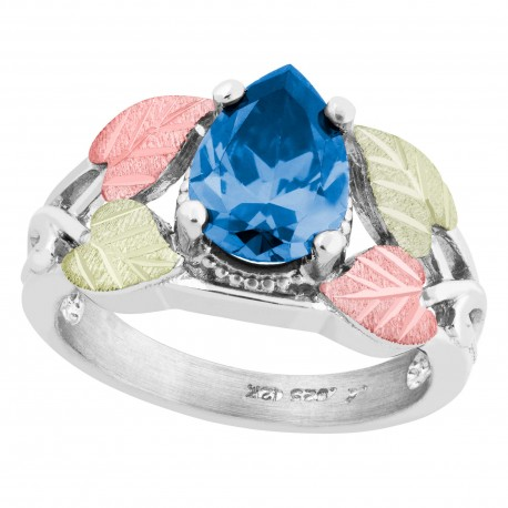 Landstrom's® Black Hills Gold on Sterling Silver Ring w/ Swiss Blue CZ