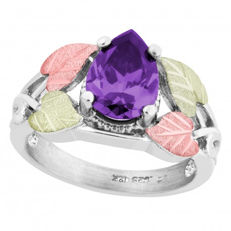 Landstrom's® Black Hills Gold on Sterling Silver Ring w/ Pear Amethyst CZ