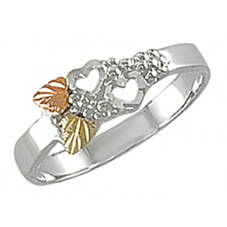 Landstrom's® Black Hills Gold on Sterling Silver Ladies Ring with Hearts