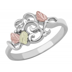 Landstrom's® Black Hills Gold on Sterling Silver Ladies Ring with Swirls