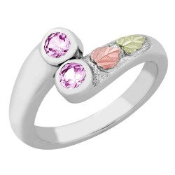 Landstrom's® Black Hills Gold on Sterling Silver Ring with 2 Pink CZ