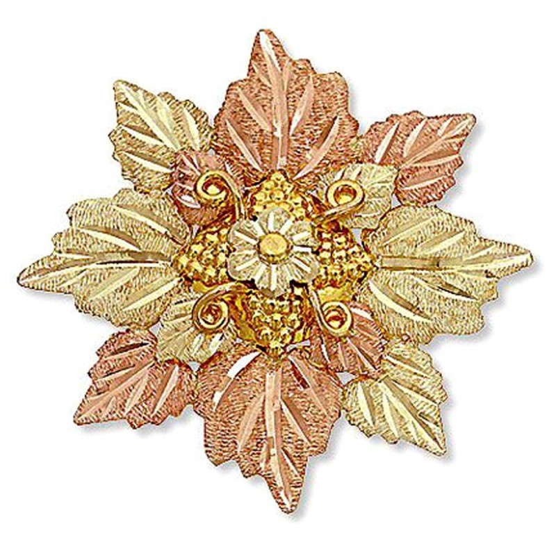Landstrom S 174 10k Black Hills Gold Leaves Cluster Brooch