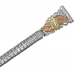 Landstrom's® Black Hills Gold 12K Leaves on Sterling Silver Ladies Watchband